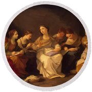 Education Of The Virgin 1642 Round Beach Towel