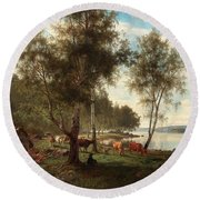 Edvard Bergh, Summer Landscape With Cattle And Birches. Round Beach Towel