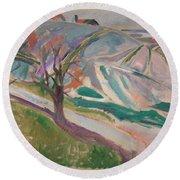 Edvard Munch , Landscape, Kragero Round Beach Towel