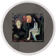 Edvard Munch - Girl And Three Mens Heads 1895-98 Round Beach Towel