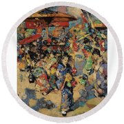 Edward Atkinson Hornel 1864 - 1933 Carnival Day, Japan Round Beach Towel