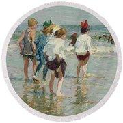 Edward Henry Potthast 1857 - 1927 Summer Day, Brighton Beach Round Beach Towel