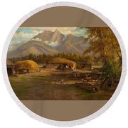 Edward Hill 1843-1923 Adamsons Ranch, Utah Round Beach Towel