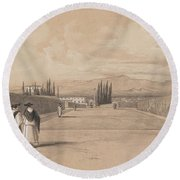 Edward Lear - The Gardens Of The Villa Albani Round Beach Towel