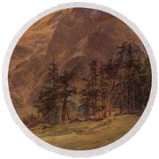 Edward Theodore Compton American 1849-1921 Mountains At Twilight, 1907 Round Beach Towel