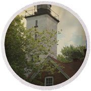 Erie Lighthouse 1872 Round Beach Towel
