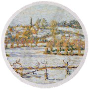 Effect Of Snow At Eragny Round Beach Towel by Camille Pissarro