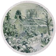 Effect Of Snow With Cows At Montfoucault Round Beach Towel by Camille Pissarro