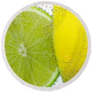 Effervescent Lime And Lemon By Kaye Menner Round Beach Towel