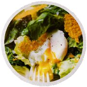 Egg And Greens Round Beach Towel