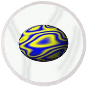 Egg In Space Blue And Yellow Round Beach Towel
