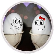 Egg Love Round Beach Towel