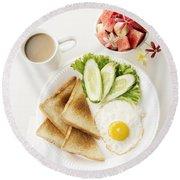 Egg Salad Toast Fruit And Coffee Breakfast Set Round Beach Towel