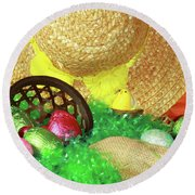 Eggs And A Bonnet For Easter Round Beach Towel