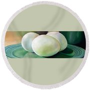 Eggs On Fiesta Vintage Dinnerware Round Beach Towel