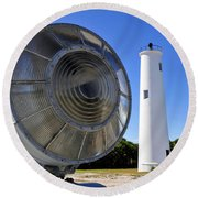 Egmont Key Lighthouse 1858 Round Beach Towel