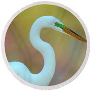 Egret Curves Round Beach Towel