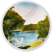Egret Flying Over Texas Landscape Round Beach Towel