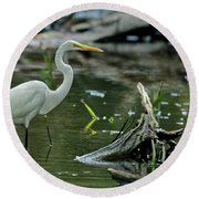 Egret In The Swamp Round Beach Towel