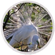 Egret In The Thicket Round Beach Towel