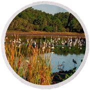 Egret Lake Round Beach Towel