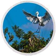 Egret Landing Round Beach Towel
