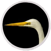 Egret On Black Round Beach Towel