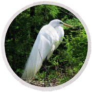 Egret On Guard Round Beach Towel