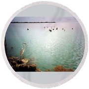 Egret On Marathon Key Round Beach Towel