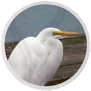 Egret On The Dock Round Beach Towel