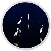Egret Reflections Round Beach Towel