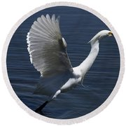Egret Taking Off Round Beach Towel