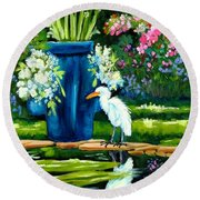 Egret Visits Goldfish Pond Round Beach Towel