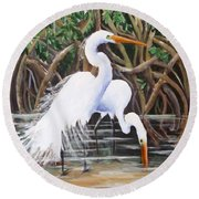 Egrets And Mangroves Round Beach Towel