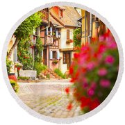 Half-timbered House, Eguisheim, Alsace, France  Round Beach Towel