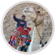 Egypt - Boy With A Camel Round Beach Towel