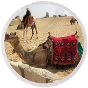 Egypt - Camel Getting Ready For The Ride Round Beach Towel