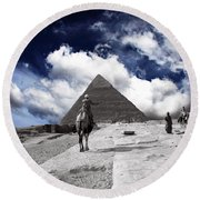 Egypt - Clouds Over Pyramid Round Beach Towel