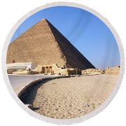 Egypt - Way To Pyramid Round Beach Towel