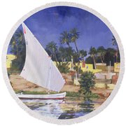 Egypt Blue Round Beach Towel by Clive Metcalfe