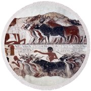 Egypt: Tomb Painting Round Beach Towel
