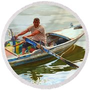 Egyptian Fisherman Round Beach Towel