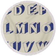 Egyptian For Carving Vintage Blue Font Design Round Beach Towel