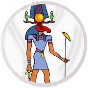 Egyptian God - Khensu Round Beach Towel