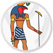 Egyptian God Of The Sun - Ra Round Beach Towel