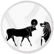 Egyptian Gods And Demons Round Beach Towel by Michal Boubin