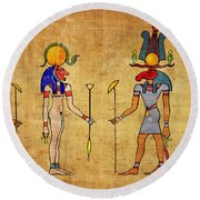 Egyptian Gods And Goddness Round Beach Towel