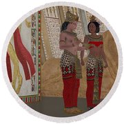 Egyptian King And Queen Round Beach Towel