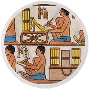 Egyptian Scribes Round Beach Towel