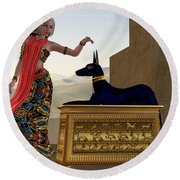 Egyptian Woman And Anubis Statue Round Beach Towel